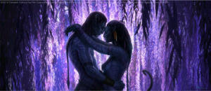 Jake and Neytiri near the Tree of Souls. A scene from the movie Avatar.