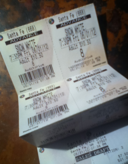 Tickets for Snow White and the Huntsman opening on Friday night (6.1.2012)
