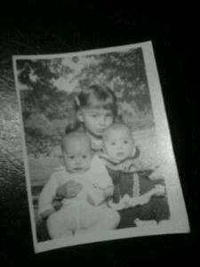 ~Felicia holding her baby brother and sister~ Thomas and Laura (The Twins) in March of 1980~